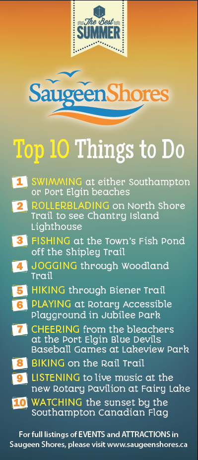 Town of Saugeen Shores – Top Ten Things to Do – Rack Card